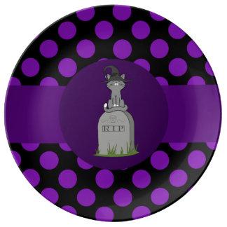 Gray Cat with Grave Stone & Purple Dots Porcelain Plates