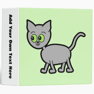 Gray Cat with Green Eyes. 3 Ring Binder