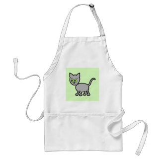 Gray Cat with Green Eyes. Adult Apron