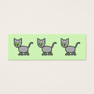 Gray Cat with Green Eyes. Mini Business Card