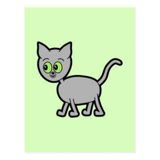 Gray Cat with Green Eyes. Postcard