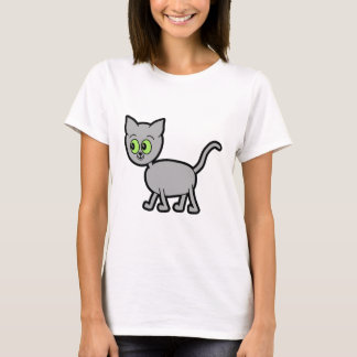 Gray Cat with Green Eyes. T-Shirt