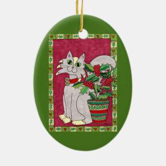 Gray Cat with Holly Plant Folk Art Ceramic Ornament