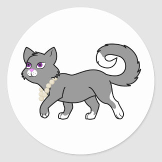 Gray Cat with Pearl Necklace Classic Round Sticker