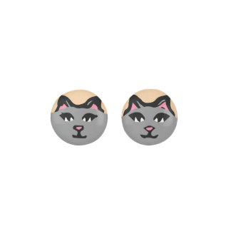 GRAY CAT With Pink Ears Earrings