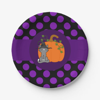 Gray Cat with Pumpkin & Purple Dots 7 Inch Paper Plate