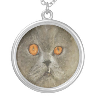 Gray Cat With Snaggle Fang Round Pendant Necklace