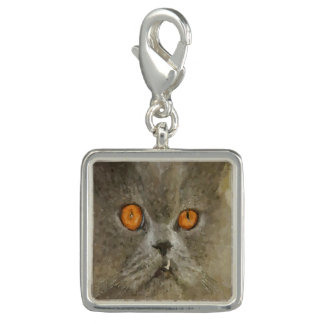 Gray Cat With Snaggle Tooth Fang Charms