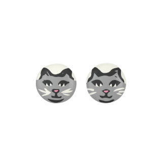 GRAY CAT With White Whiskers Earrings