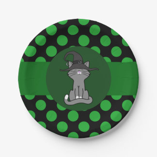 Gray Cat with Witch Hat & Green Dots 7 Inch Paper Plate