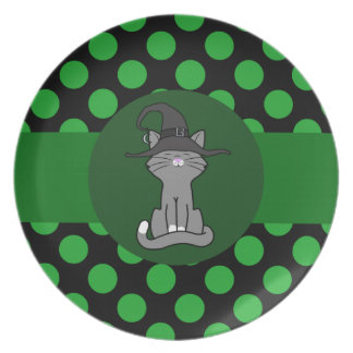 Gray Cat with Witch Hat & Green Dots Plate