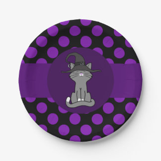 Gray Cat with Witch Hat & Purple Dots 7 Inch Paper Plate