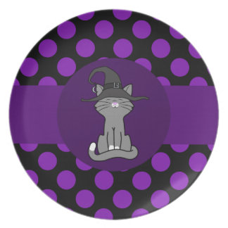 Gray Cat with Witch Hat & Purple Dots Party Plates