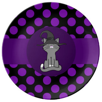 Gray Cat with Witch Hat & Purple Dots Porcelain Plate