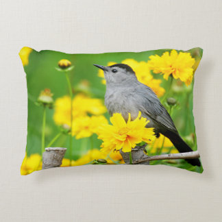 Gray Catbird on wooden fence Accent Pillow