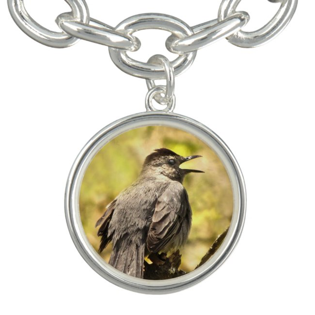 Gray Catbird Singing His Song Charm Bracelet