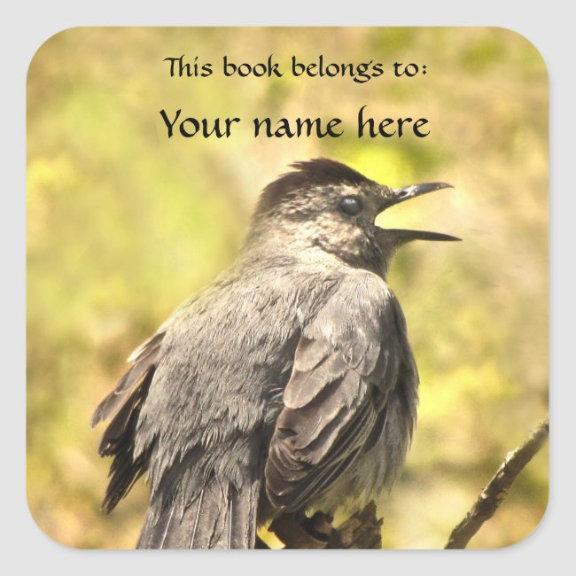 Gray Catbird Sings His Song Bookplate Sticker
