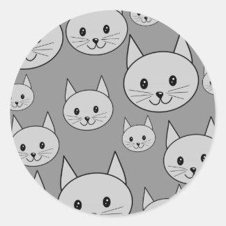 Gray Cats. Classic Round Sticker