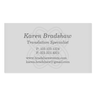 Gray Celtic Knot Translation Business Cards Business Card Templates