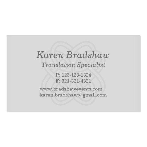 Gray Celtic Knot Translation Business Cards