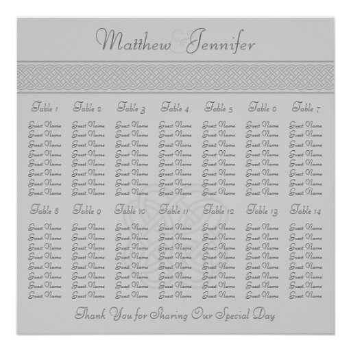 Gray Celtic Knot Wedding Reception Seating Chart Poster