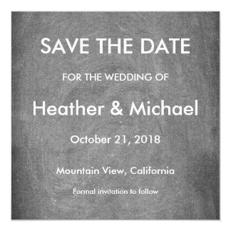 Gray Chalkboard Background Save the Date Wedding Card