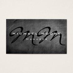 Gray Chalkboard Bold Monogram Minimalist Modern Business Card at Zazzle