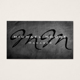Construction company business cards templates zazzle gray chalkboard bold monogram minimalist modern business card reheart Choice Image