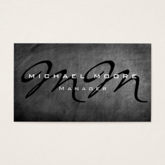 Gray Chalkboard Bold Monogram Minimalist Modern Business Card