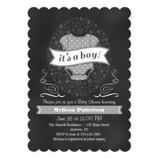Gray Chalkboard Boy Baby Shower Invite