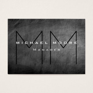 Gray Chalkboard Chubby Monogram Business Card
