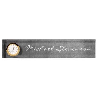 Gray Chalkboard Pattern Business Nameplate