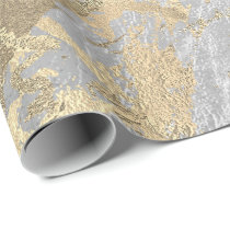Gray Champaigne Gold Marble Grey Metallic Stroke Wrapping Paper
