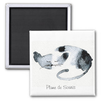 Gray Chaquarelle sleeping 2 Inch Square Magnet
