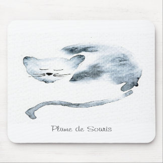 Gray Chaquarelle sleeping Mouse Pad
