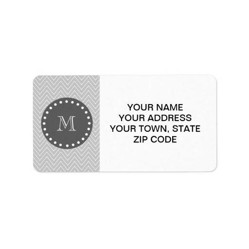 Gray & Charcoal Modern Chevron Custom Monogram Address Label