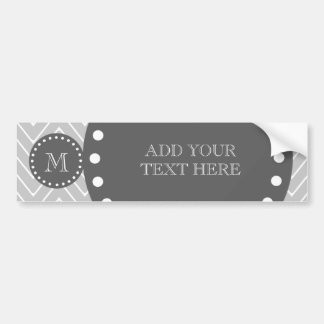 Gray & Charcoal Modern Chevron Custom Monogram Bumper Sticker