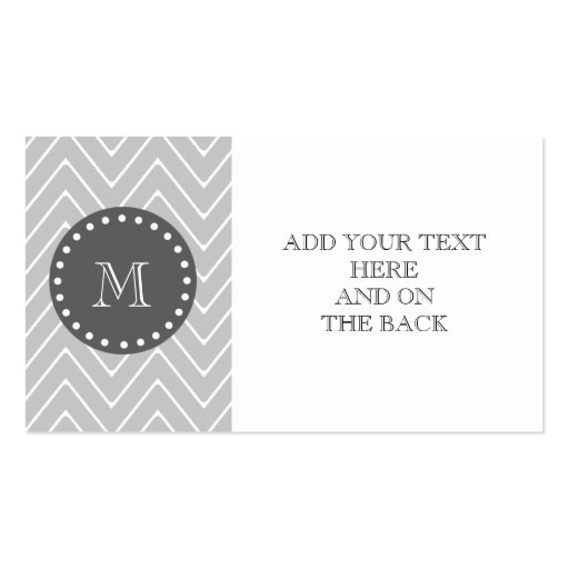 Gray & Charcoal Modern Chevron Custom Monogram Business Card Template