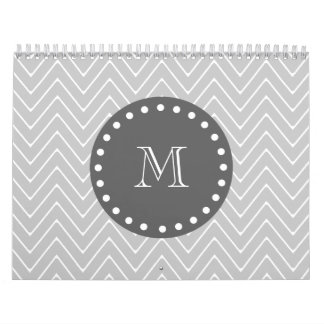 Gray & Charcoal Modern Chevron Custom Monogram Calendar