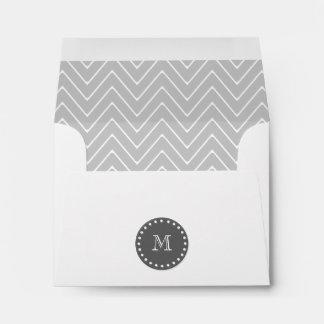 Gray & Charcoal Modern Chevron Custom Monogram Envelope