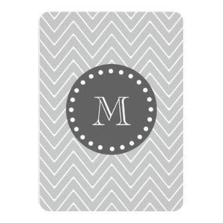 "Gray & Charcoal Modern Chevron Custom Monogram 4.5"" X 6.25"" Invitation Card"