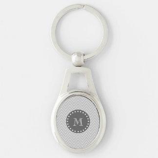 Gray & Charcoal Modern Chevron Custom Monogram Keychain