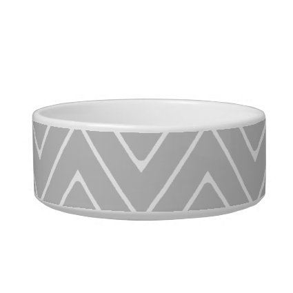 Gray & Charcoal Modern Chevron Custom Monogram Pet Bowl