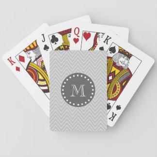 Gray & Charcoal Modern Chevron Custom Monogram Poker Cards
