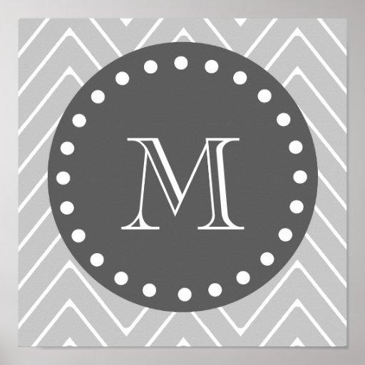 Gray & Charcoal Modern Chevron Custom Monogram Poster