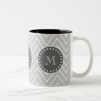 Gray & Charcoal Modern Chevron Custom Monogram Two-Tone Coffee Mug