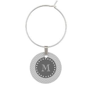 Gray & Charcoal Modern Chevron Custom Monogram Wine Glass Charm
