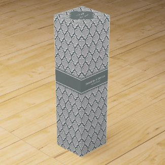 Gray Charcoal Moroccan #5DS Charcoal Name Monogram Wine Boxes
