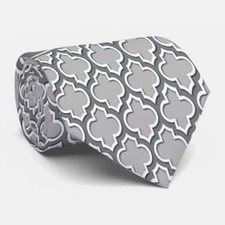 Gray Charcoal Moroccan #5DS Charcoal Name Monogram Neck Tie