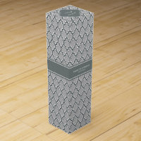 Gray Charcoal Moroccan #5DS Charcoal Name Monogram Wine Gift Box